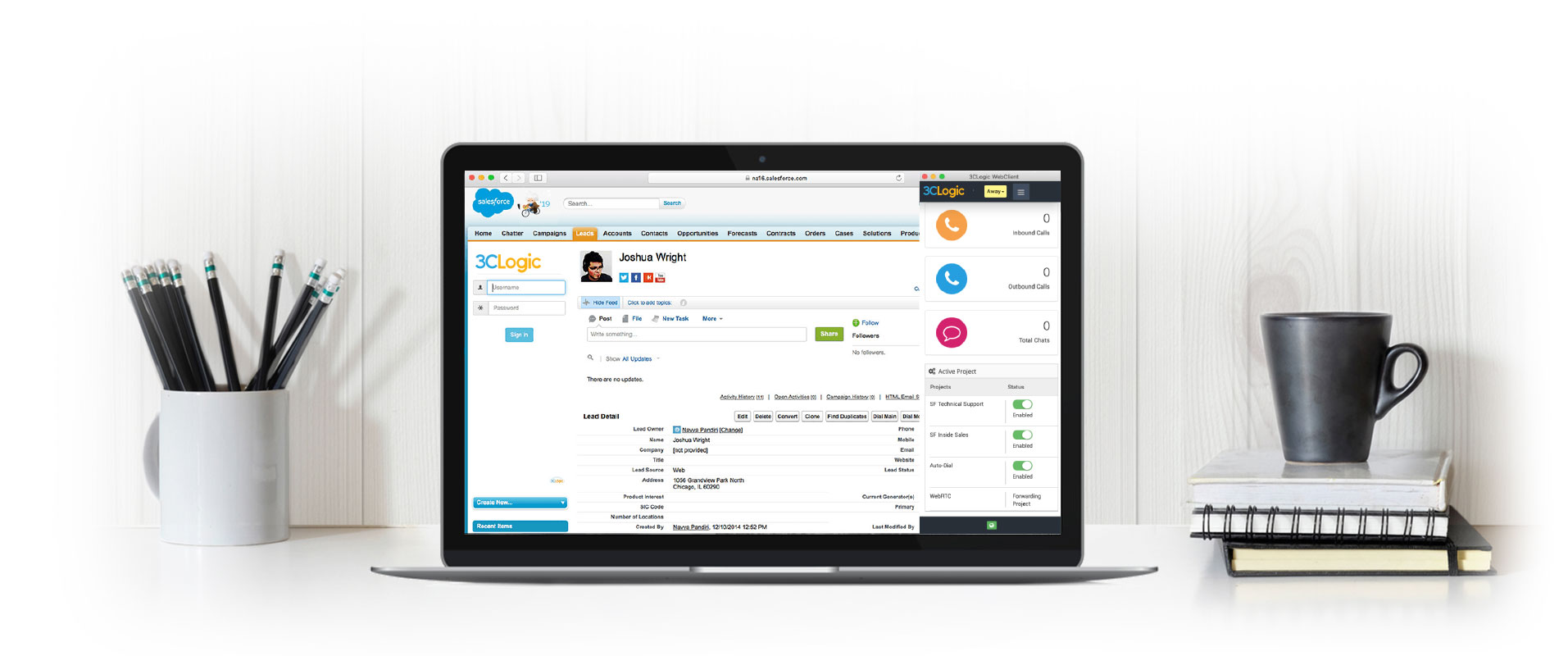 Laptop with screenshot of 3CLogic's Salesforce integration