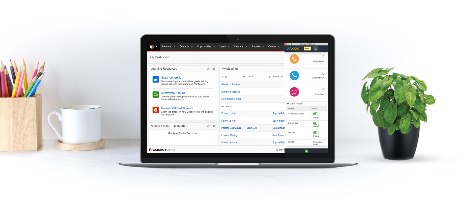 Laptop with screenshot of 3CLogic's Sugar CRM integration