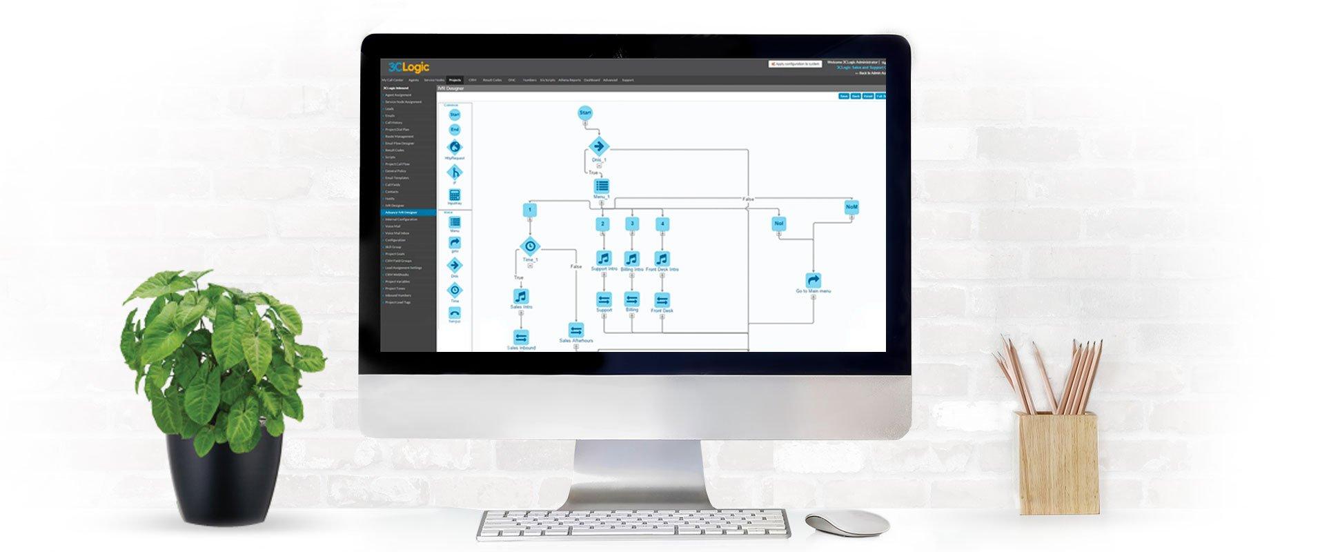 Desktop computer with screenshot of 3CLogic's IVR designer