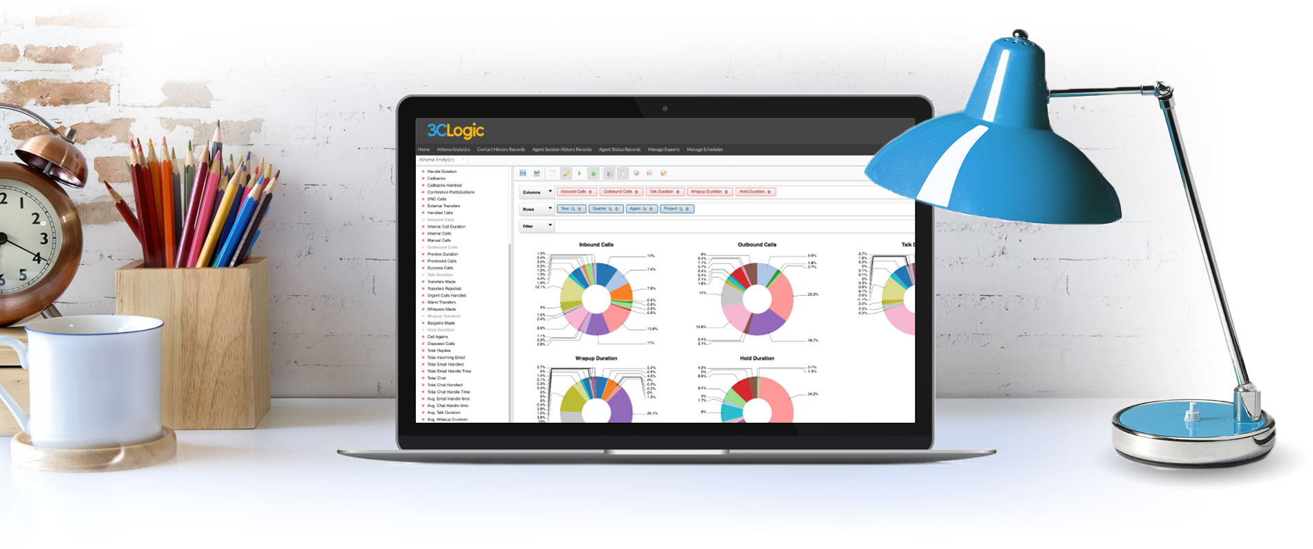 Laptop with screenshot of 3CLogic's reporting and analytics