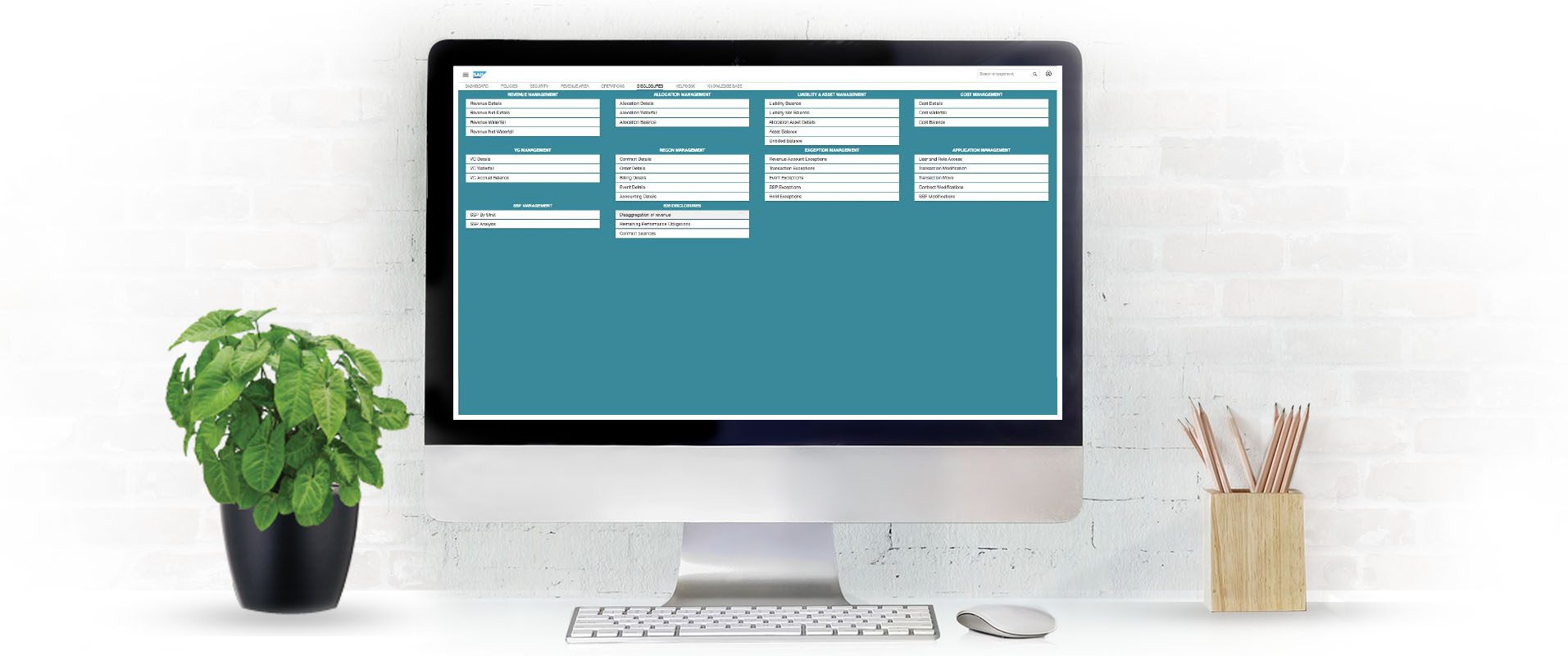 Desktop computer with screenshot of 3CLogic's SAP integration