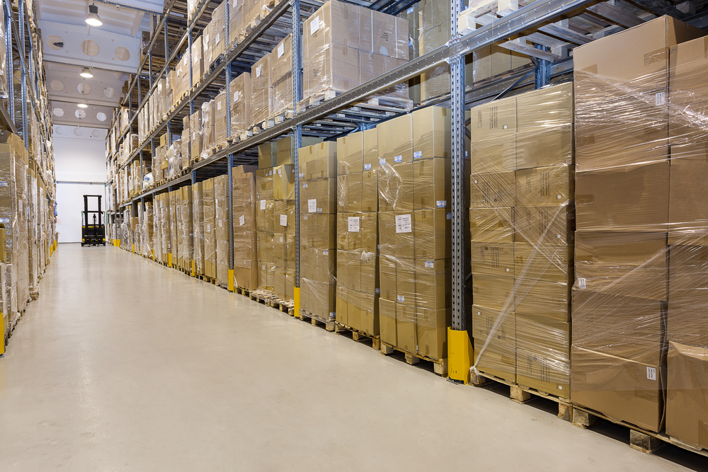 Metal stillage in a warehouse with cartons-1
