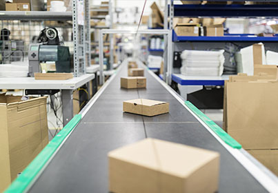 boxes on a conveyer belt